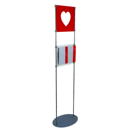 Free standing display with heart cut out of foam