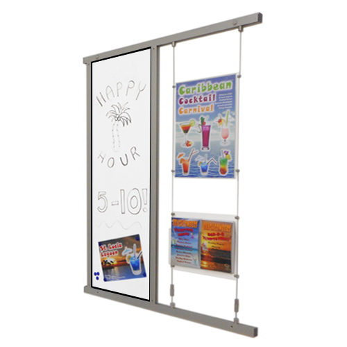 Wall channel with magnetic white board and acrylic holders