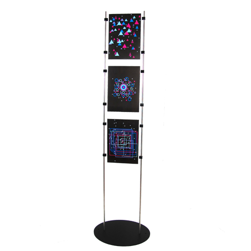 Black poster stand for 3x A4P posters