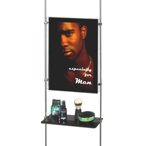 Black acrylic shelving on bars (rods) with poster holder