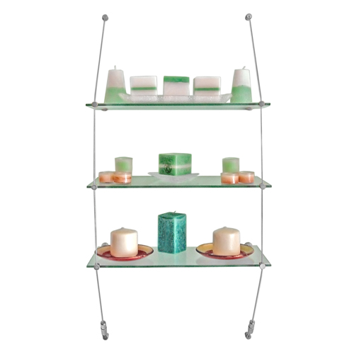 Wall shelving - glass shelves supported by tensioned wires