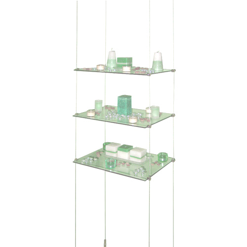 Toughened Gl Shelves Suspended Between Ceiling And Floor