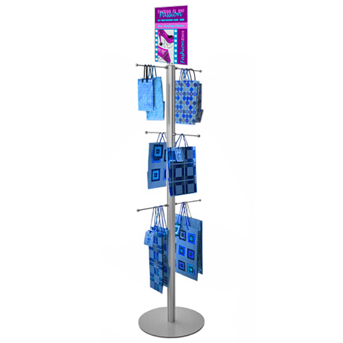 Carrier bag stand with 6 hangers and poster: 1.5m
