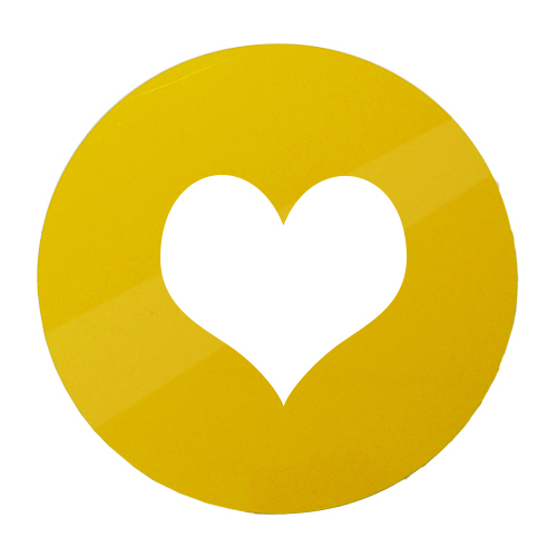 Yellow ACM with vinyl heart