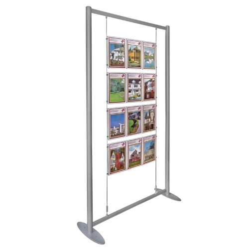 Poster holders (4x triple A4P) suspended in aluminium stand