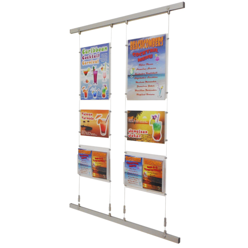 mixed poster and leaflet holders on wires in wall channel