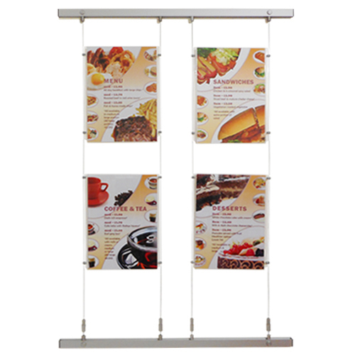 wall bars with 2 columns of A3P poster holders on quick-fit wires