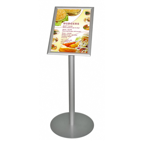 Single poster on podium stand - A3P snap frame at 45 degrees with menu