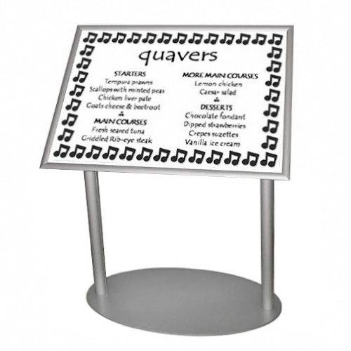 Single poster on podium stand A2L for menu