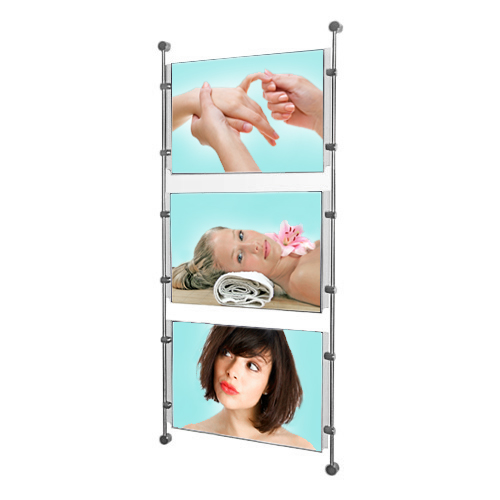 Wall mounted 3x A4L poster holders on bars