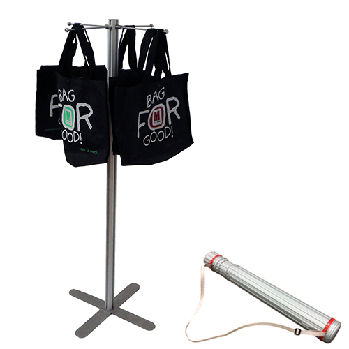 KEF01A Bag stand - 1200mm slim post with 4x 200mm hangers in case