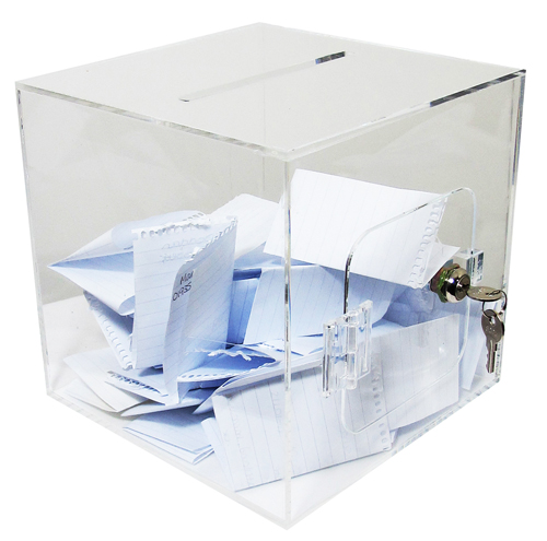 132a Acrylic cube suggestion boxes [ballot boxes]